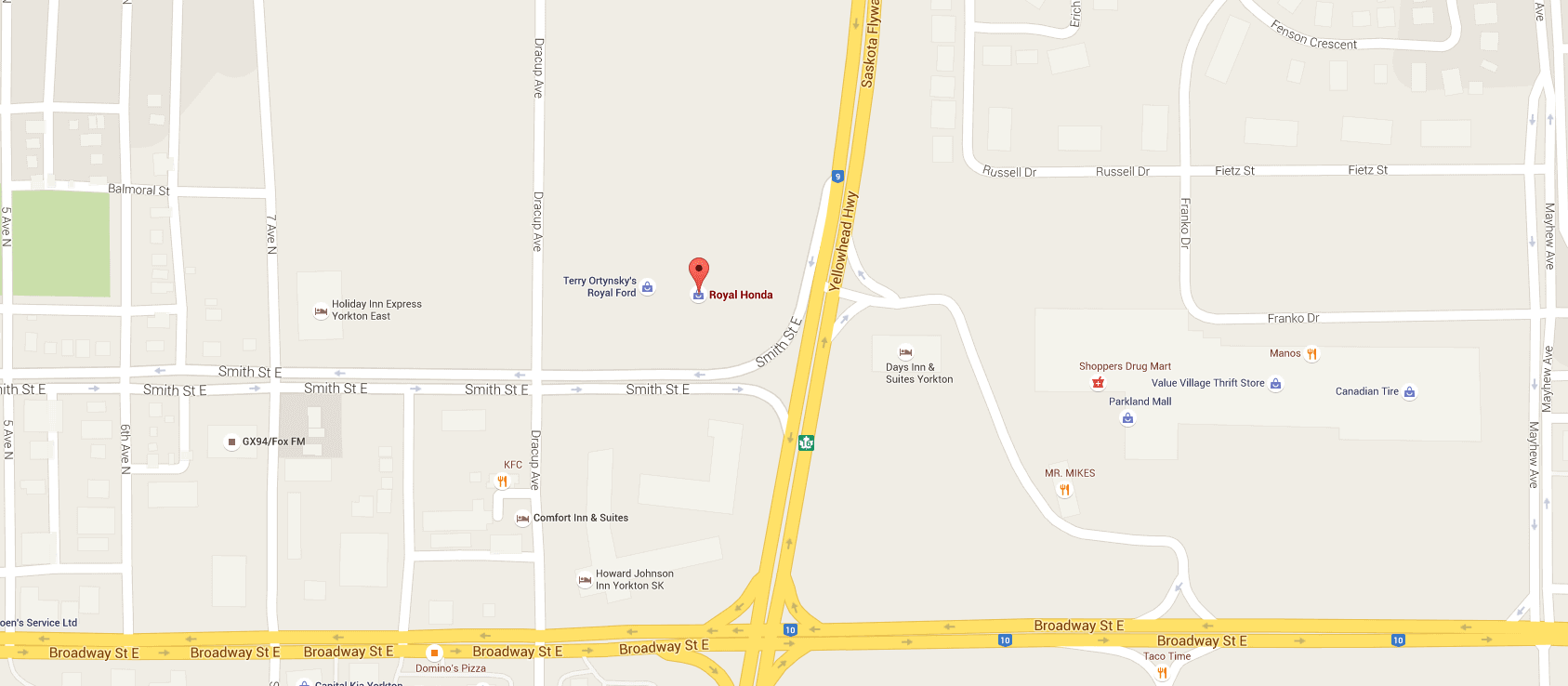 Google Map of Royal Honda in Yorkton, SK