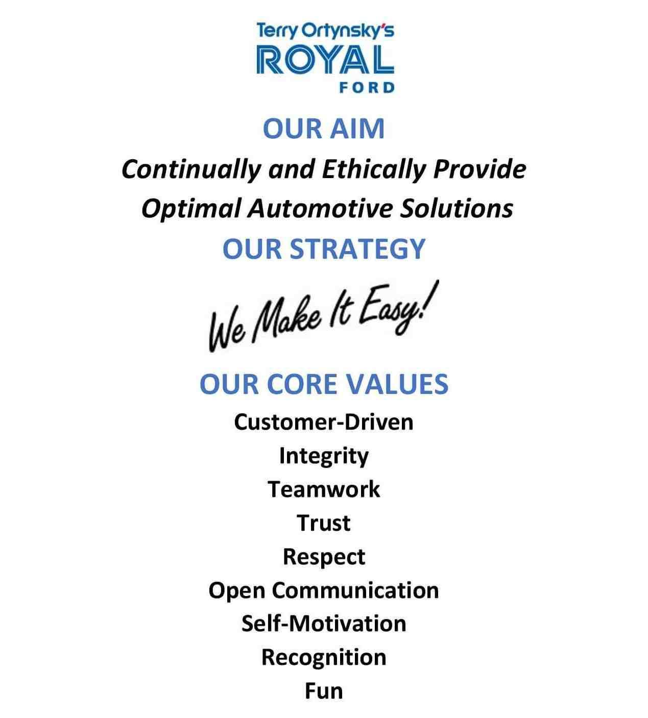 Royal Ford Values
