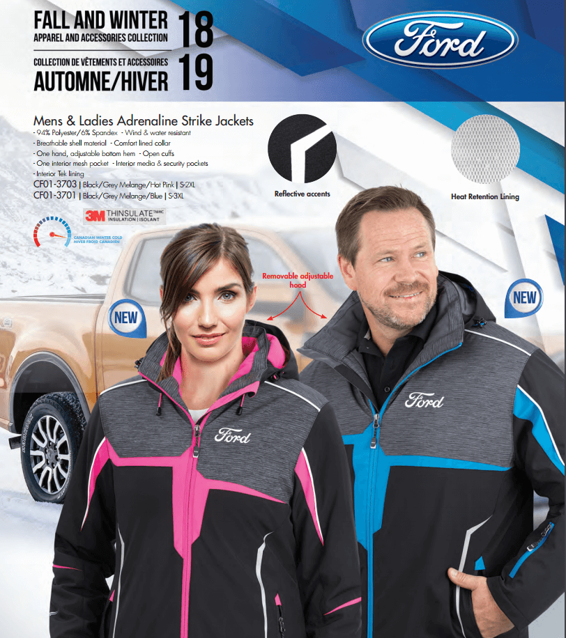 Ford catalogue fall and winter 2018 2019 adrenaline strike jackets
