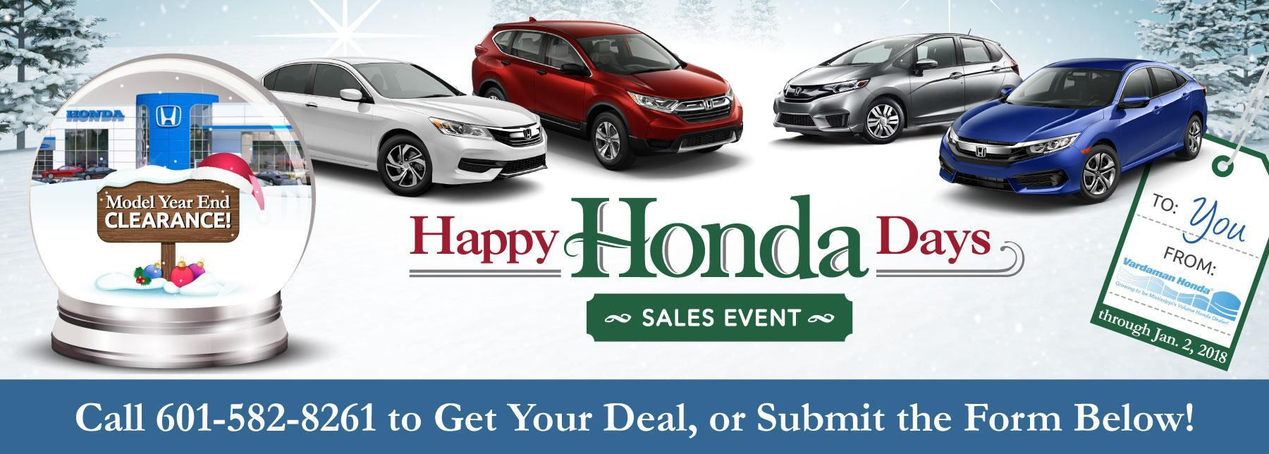 Happy Honda Days Going on Now at Vardaman Honda!
