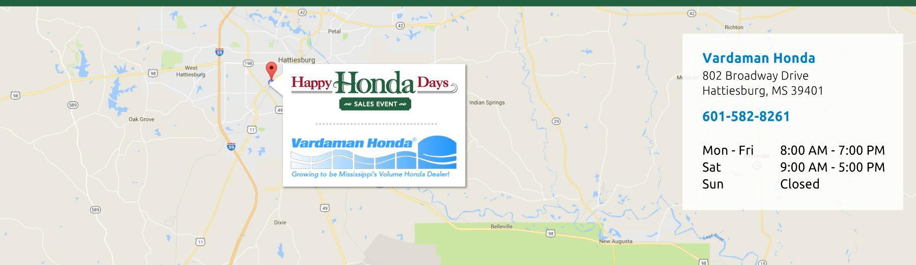 Vardaman Honda Hours and Directions