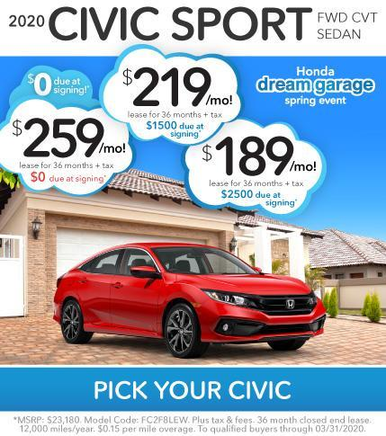 Civic Sport Lease Offer at Vardaman Honda during Dream Garage Spring Event