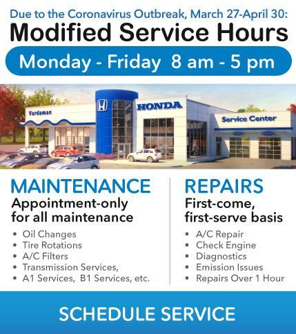 New Service Hours at Vardaman Honda during Coronavirus restrictions