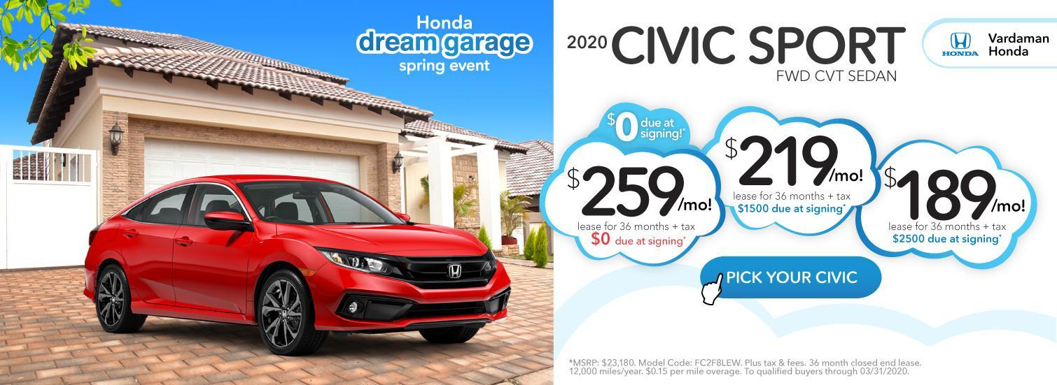 Civic Lease Offer during Dream Garage Spring Event at Vardaman Honda