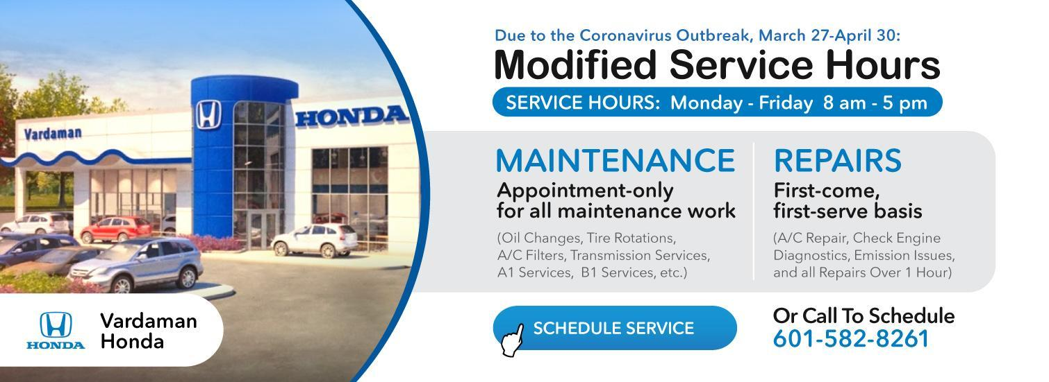 New Service Hours during Coronavirus restrictions at Vardaman Honda