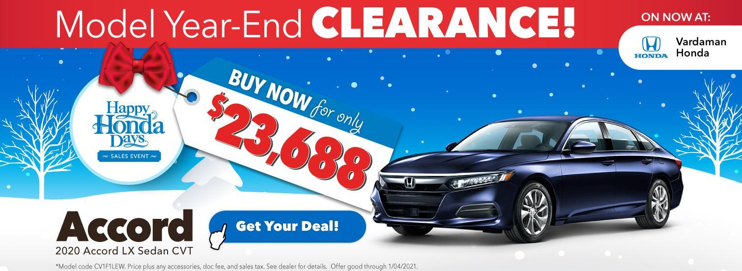Accord Offer during Happy Honda Days at Vardaman Honda