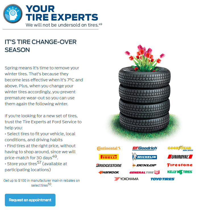 Tires service offer Violette Motors