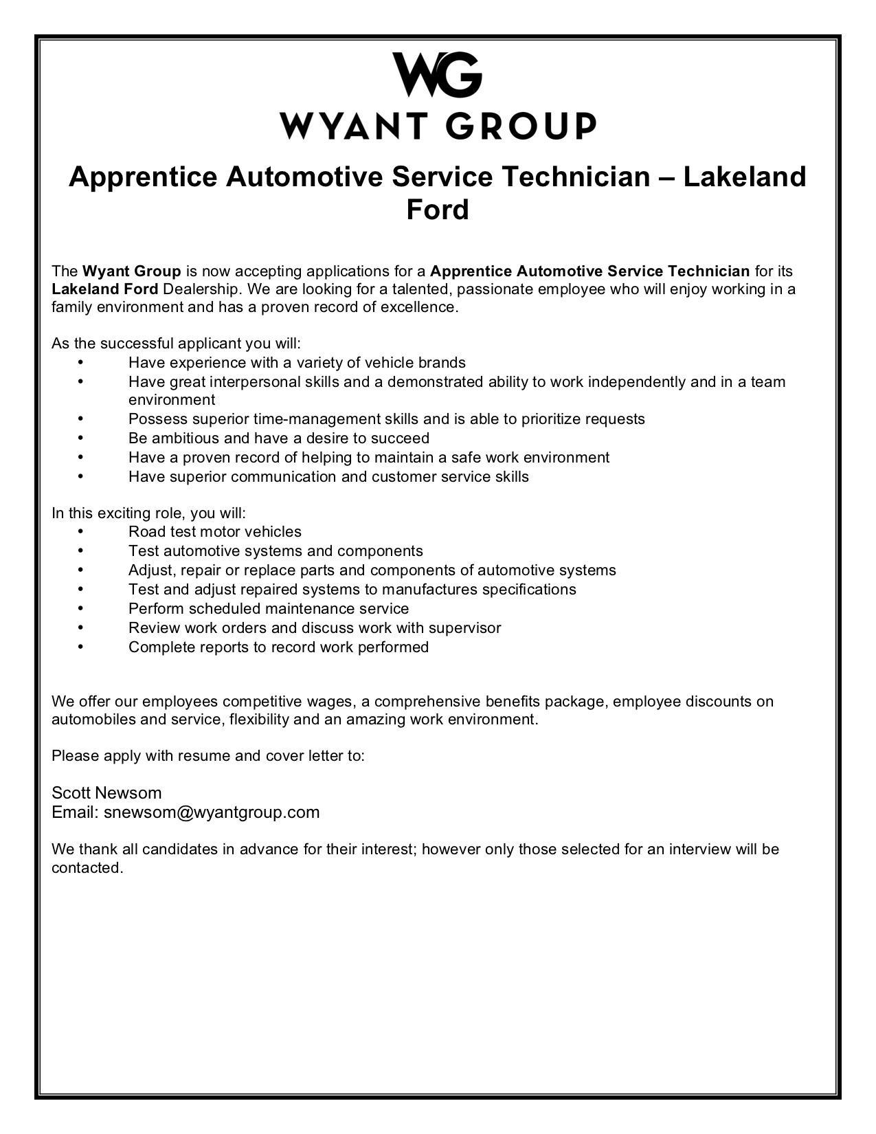 Lakeland Ford Apprentice Journeyman Technician
