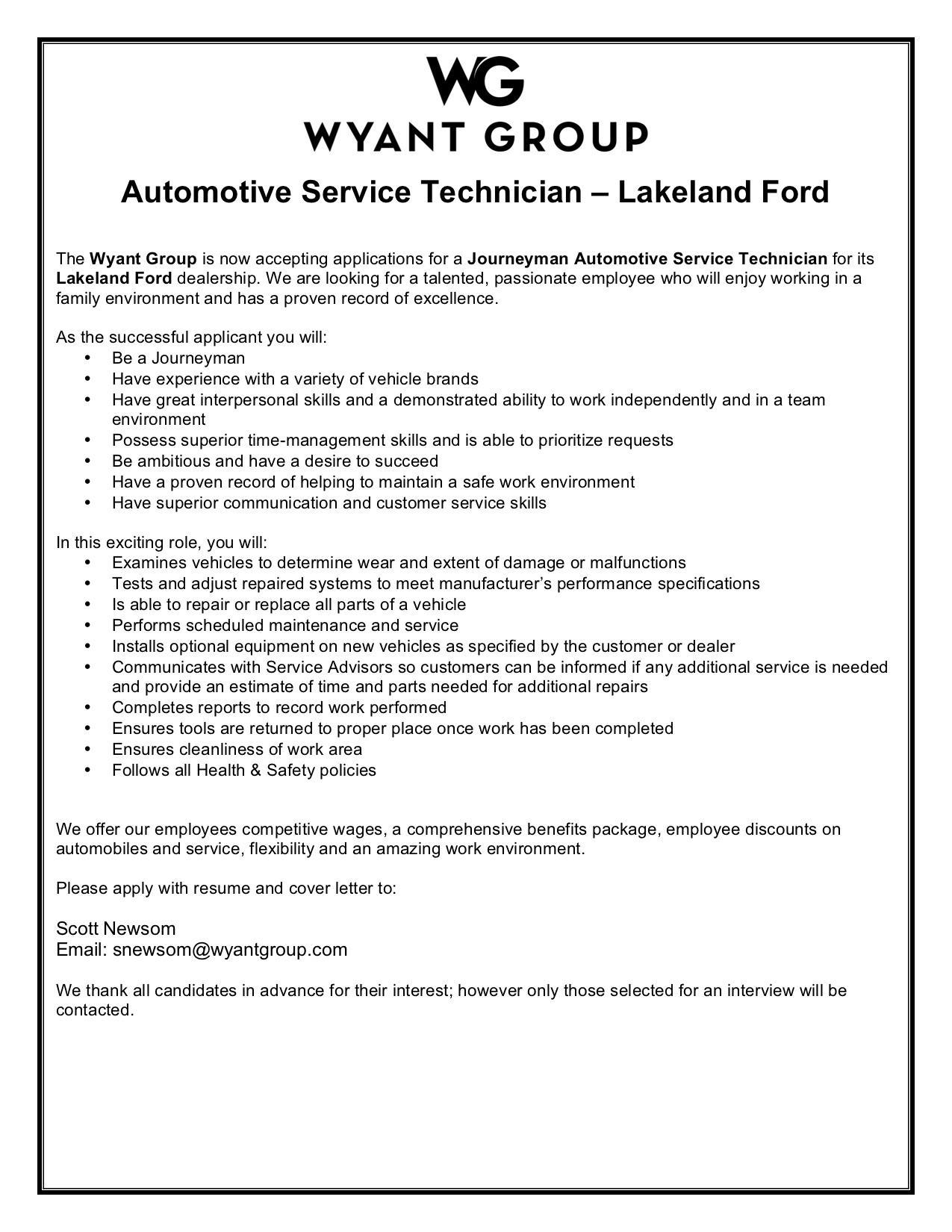 Lakeland Ford Journeyman Technician