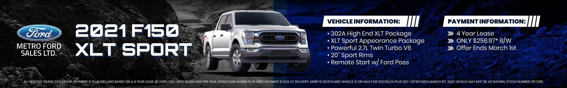 2021 F-150 XLT SPORT Lease offer from Metro Ford Dealership Calgary