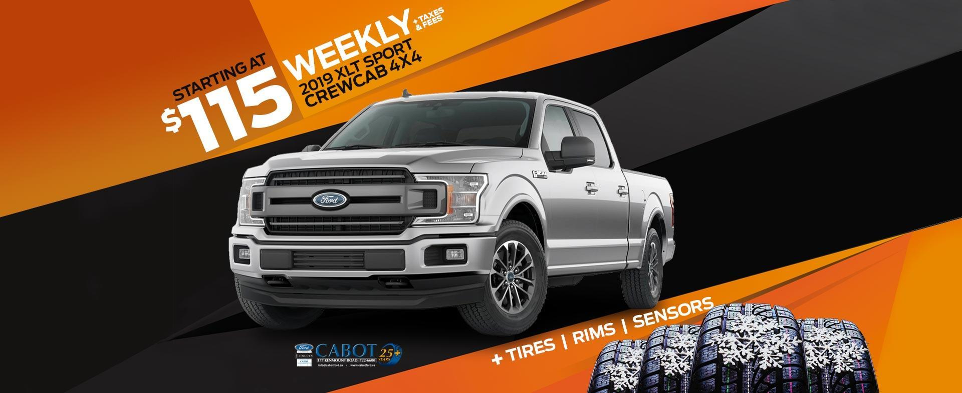 2019 Ford F-150 XLT Sport CrewCab 4x4 with the 2.7 L EcoBoost engine for just $115 weekly, plus taxes and fees! Includes the Winter Performance Package at no extra charge!