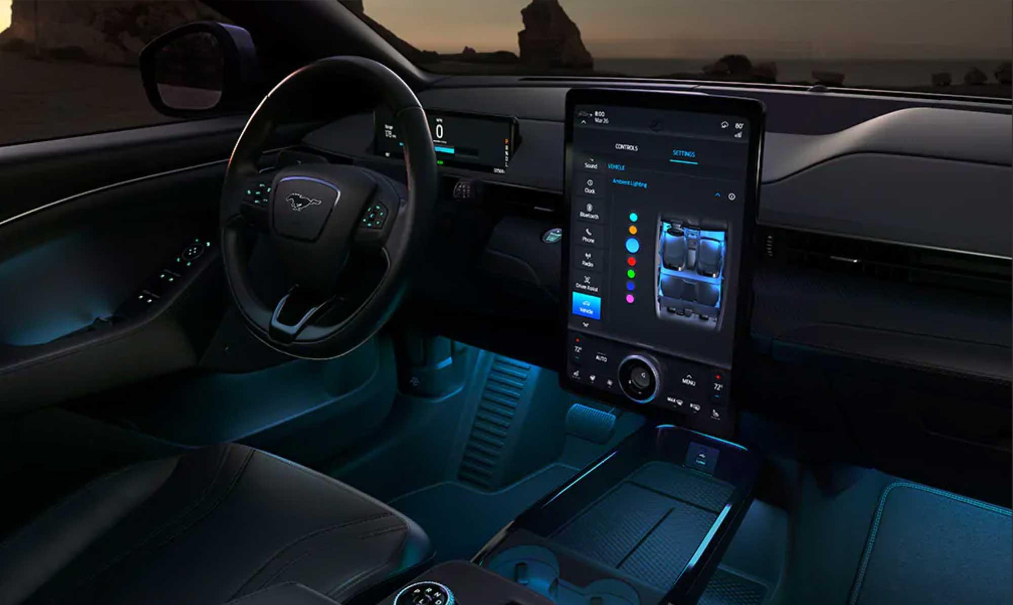 Immerse yourself in the 2021 Ford Mustang Mach-E unique interior.