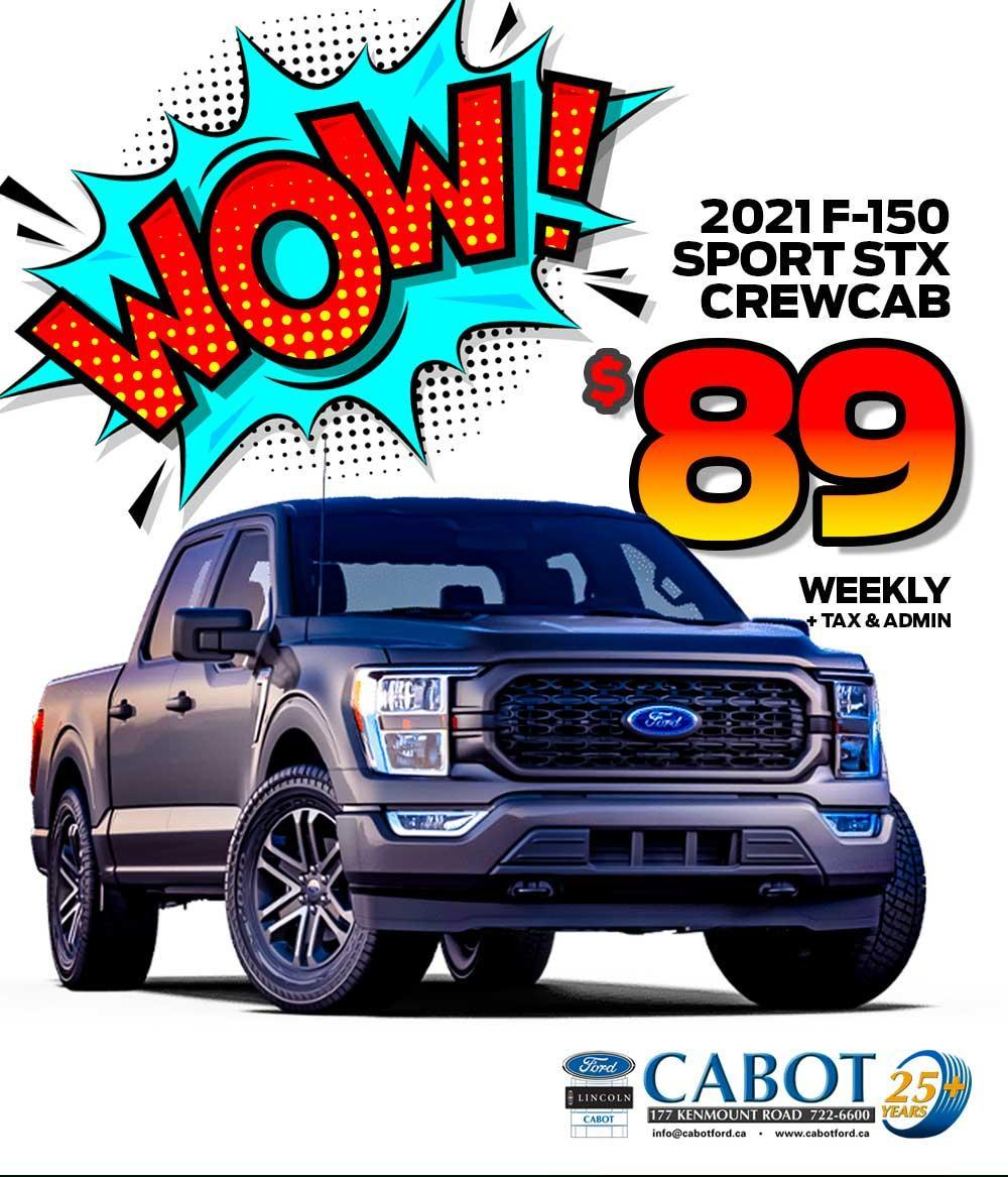 Get the 2021 F-150 STX CREWCAB SPORT for JUST $89 weekly!