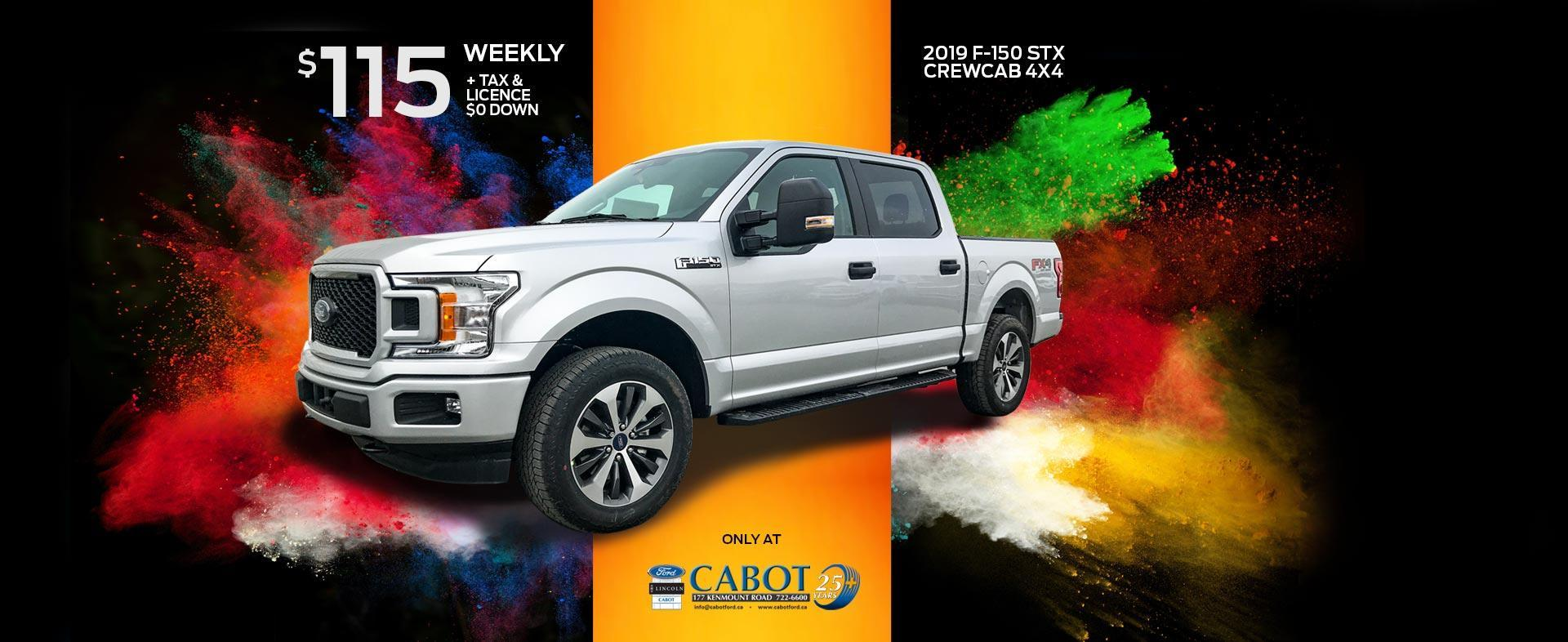 Get the 2019 F-150 STX CrewCab 4x4 for just $115 weekly, + tax and license and $0 down!