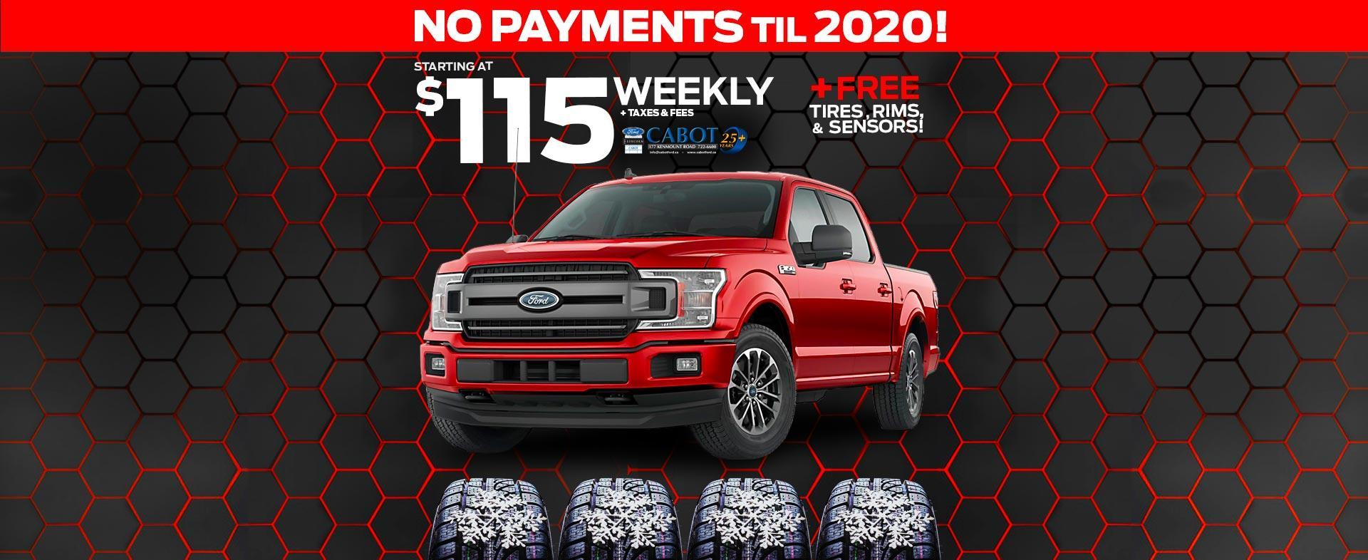 2019 F-150 XLT CrewCabs starting at just $115 weekly + taxes & fees.  NO PAYMENTS TIL 2020!  Free winter tires, rims, & sensors!