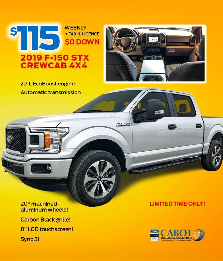 JUST $115 WEEKLY + tax & licence and $0 DOWN for the 2019 F-150 STX CrewCab 4x4, FX4 package!