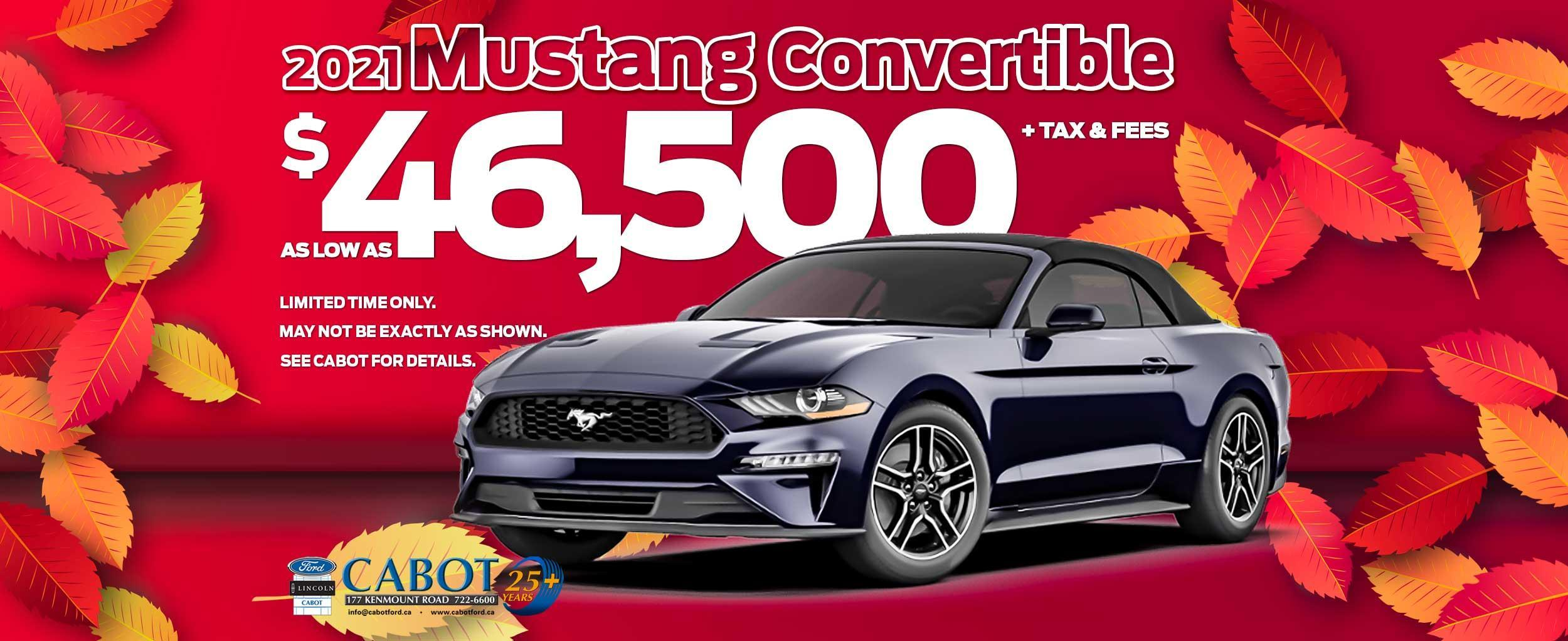 Get a 2021 MUSTANG CONVERTIBLE for AS LOW AS $46,500 + tax & fees.