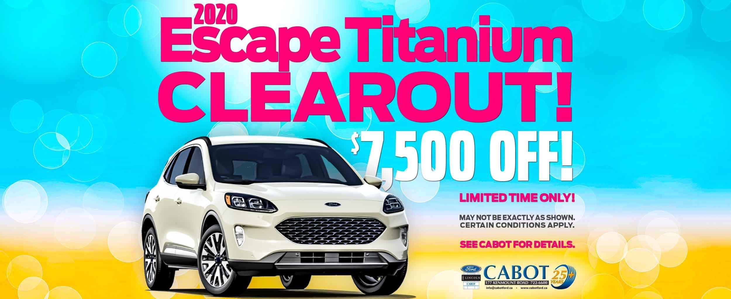 GET $7,500 OFF THE 2020 FORD ESCAPE TITANIUM!