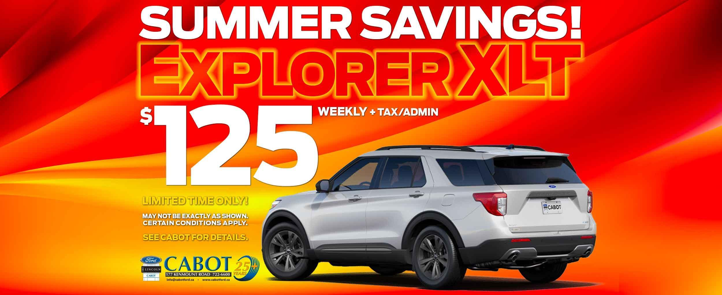 GET THE 2021 FORD EXPLORER XLT FOR JUST $125 WEEKLY + TAX/ADMIN!