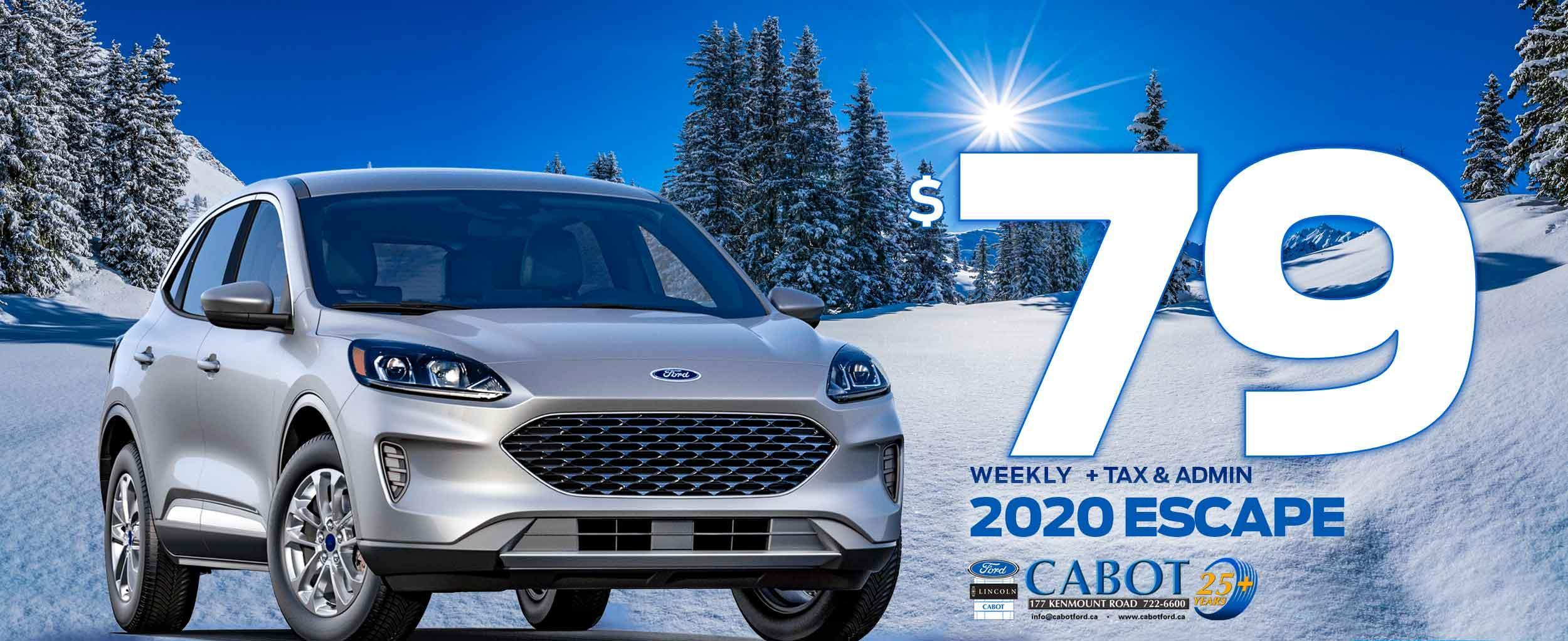 Thinking Escape? Think Cabot! Get the 2020 ESCAPE SE AWD FOR JUST $79 WEEKLY + tax & admin!