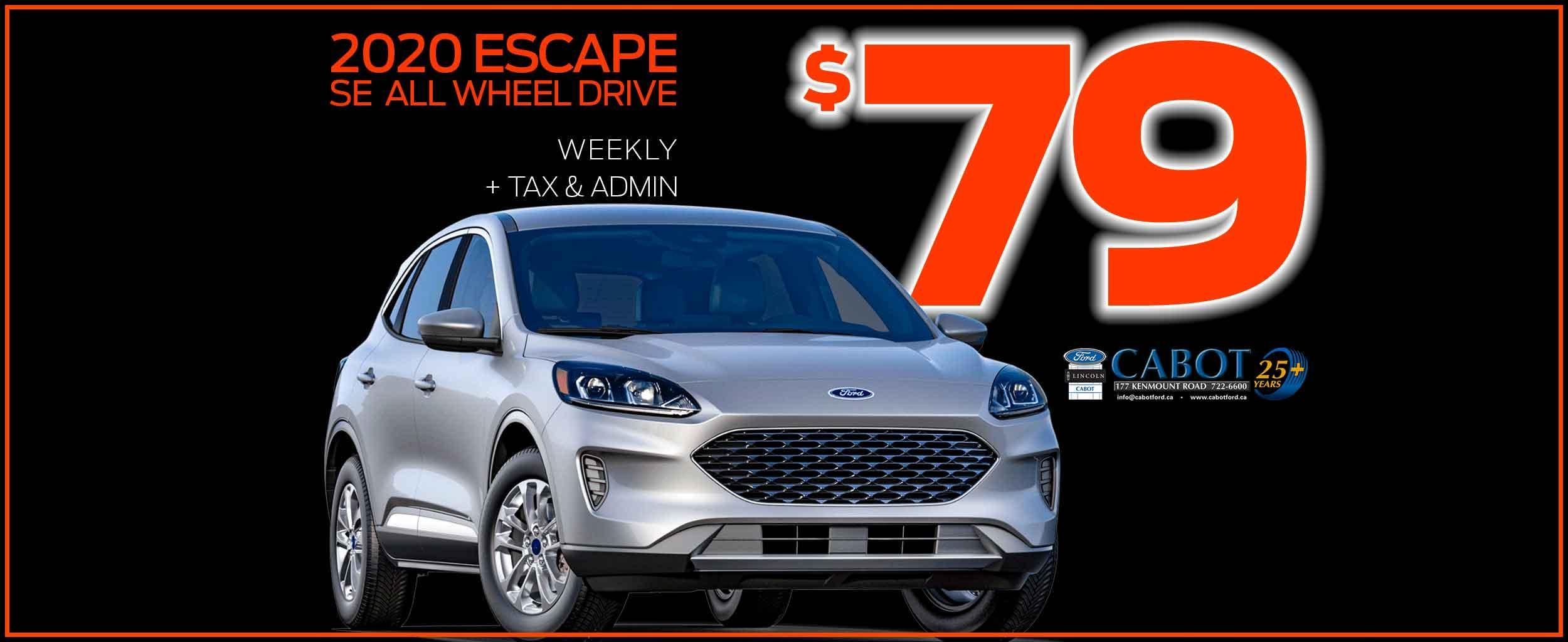 """SCARY SAVINGS on the 2020 Escape SE AWD! Just $79 weekly + tax & admin! Heated front seats, 17"""" Shadow Silver painted aluminum wheels, Dual heated power mirrors, and so much more!"""