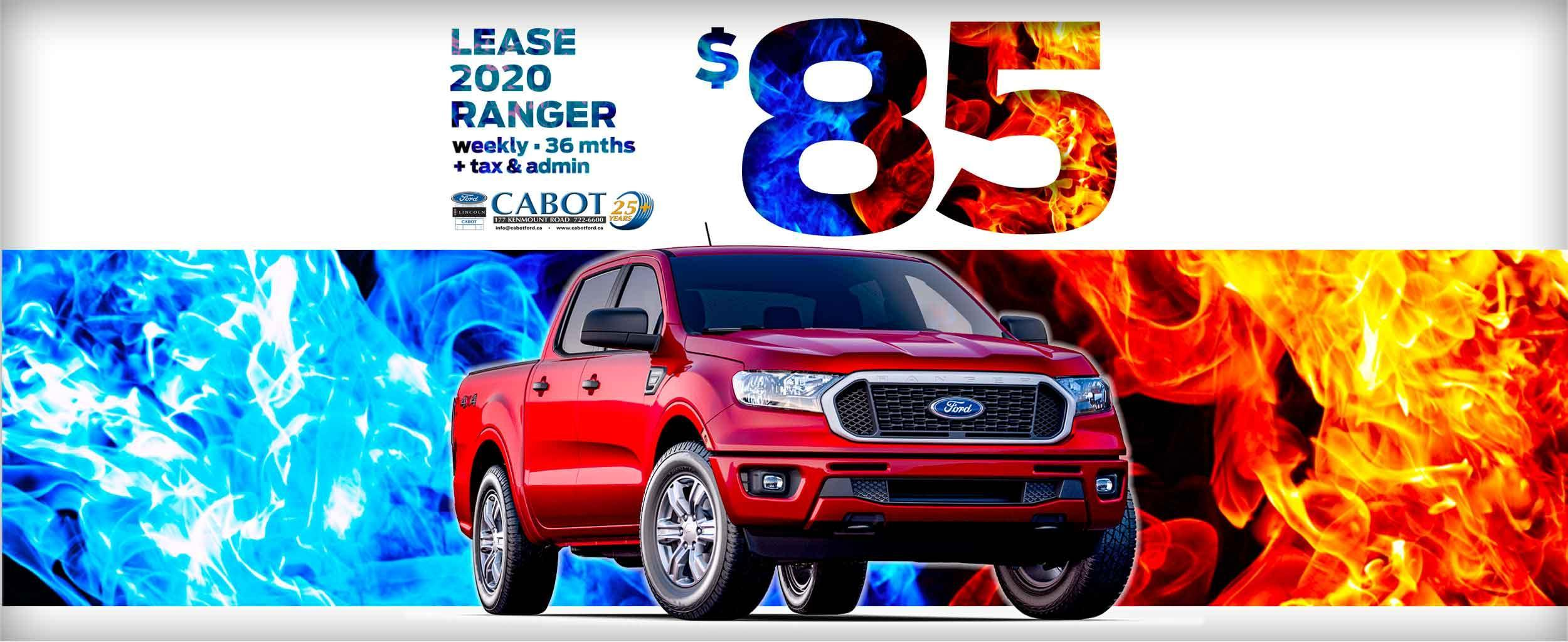LEASE a 2020 FORD RANGER XLT SUPERCREW 4x4, for JUST $85 WEEKLY + tax and admin on a 36-month term!