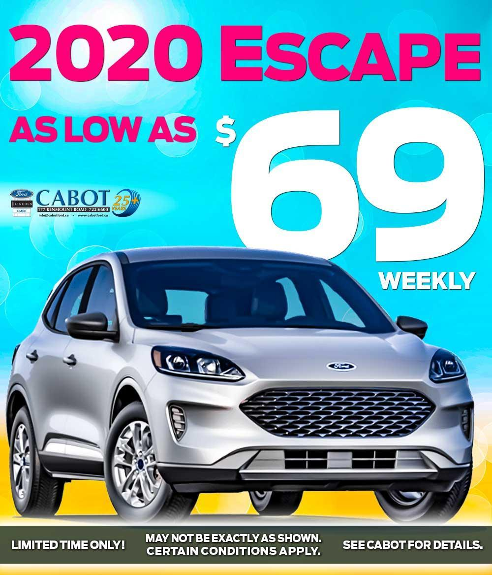 GET THE 2020 FORD ESCAPE FOR AS LOW AS $69 WEEKLY!
