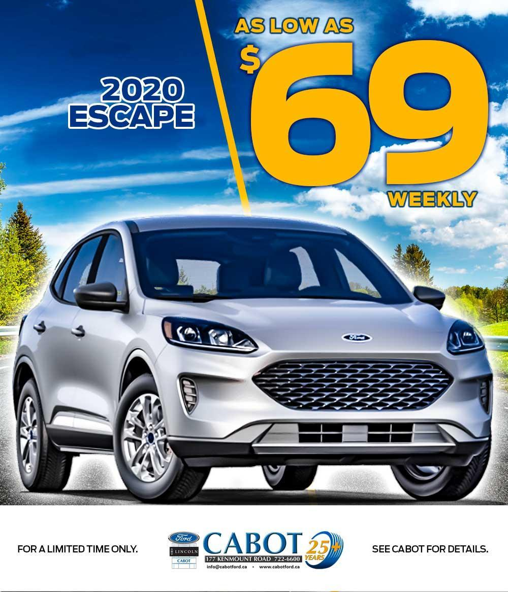 2020 FORD ESCAPE, NOW AS LOW AS $69 WEEKLY!