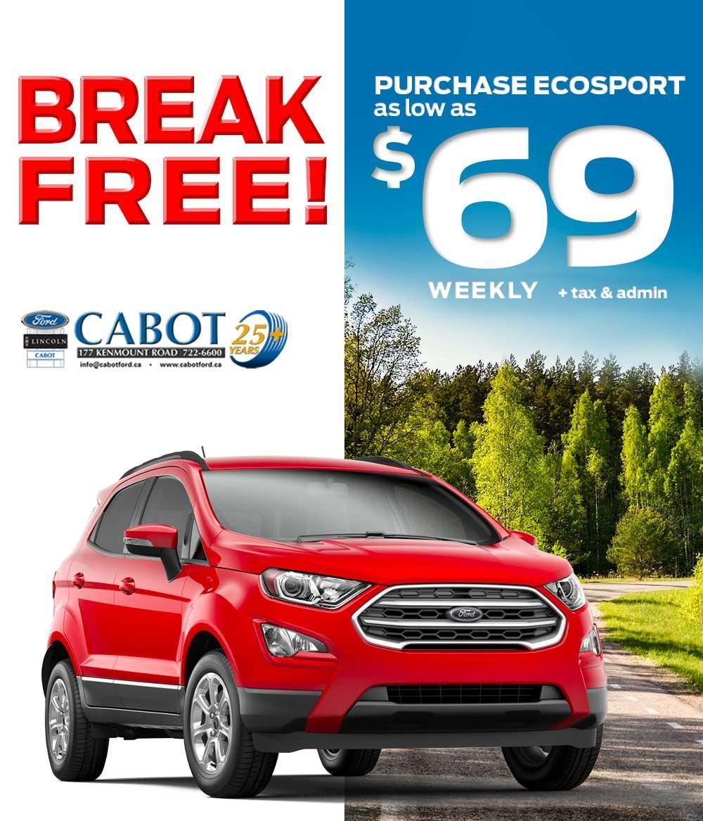 FOR A LIMITED TIME ONLY, the fun FORD ECOSPORT 4WD can be yours for as low as $69 weekly, plus tax & admin!