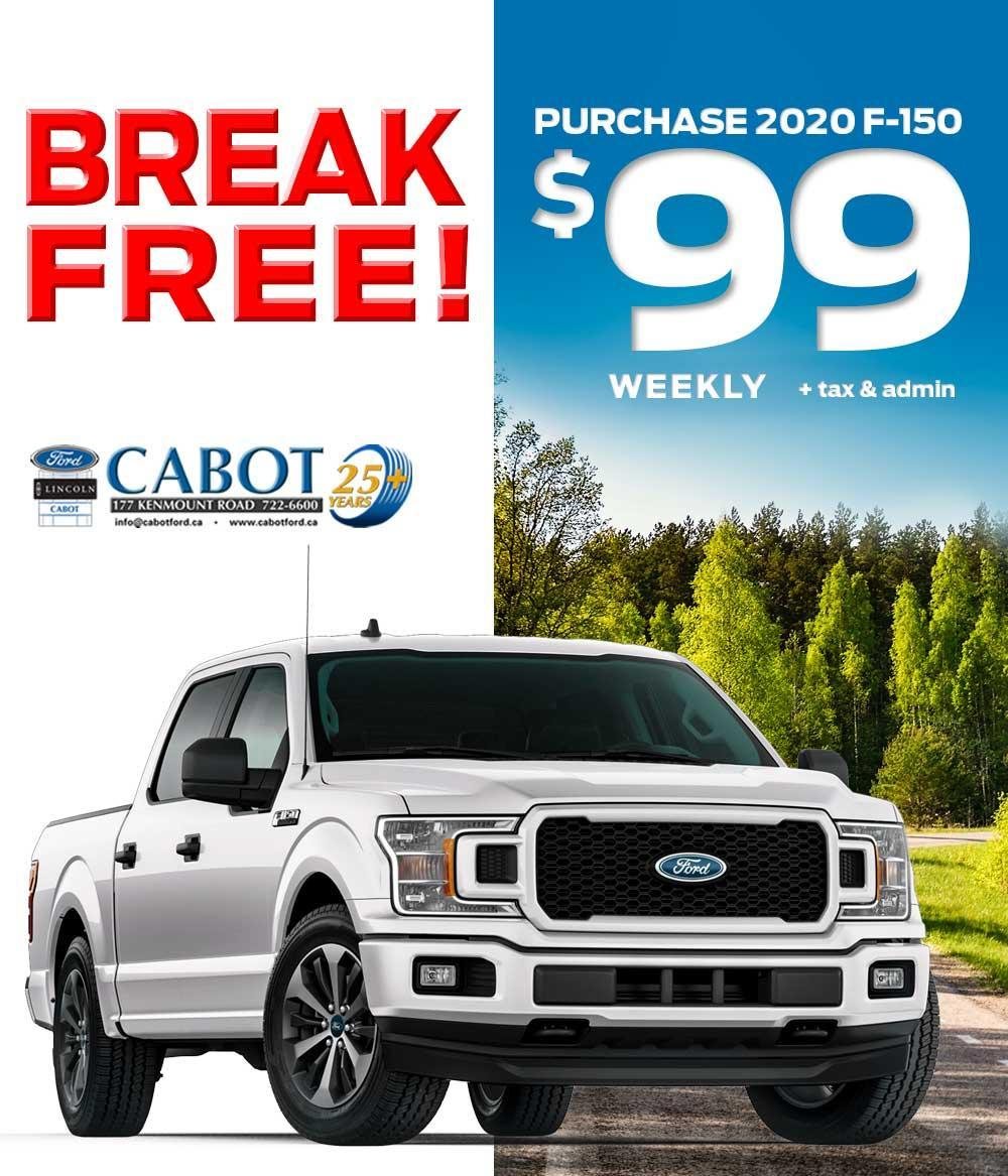 PURCHASE a 2020 F-150 STX 4x4 CREWCAB, for JUST $99 WEEKLY + tax and admin!