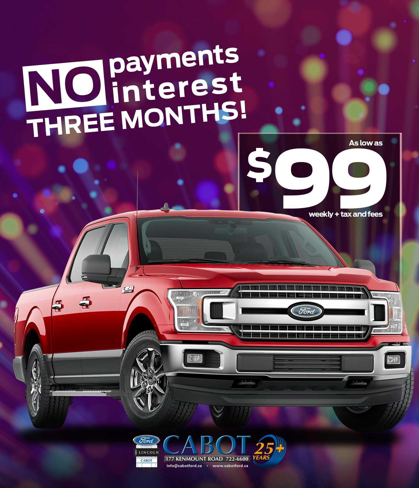 Get a 2019 F-150 XLT CrewCab 4x4, XTR pkg & power group, as low as $99 weekly + tax & fees! NO PAYMENTS OR INTEREST FOR THREE MONTHS!
