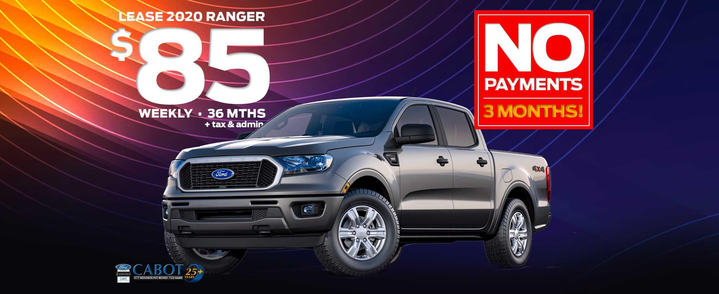 LEASE a 2020 FORD RANGER XLT SUPERCREW 4x4, for JUST $85 WEEKLY + tax and admin on a 36-month term and NO PAYMENTS FOR THREE MONTHS!