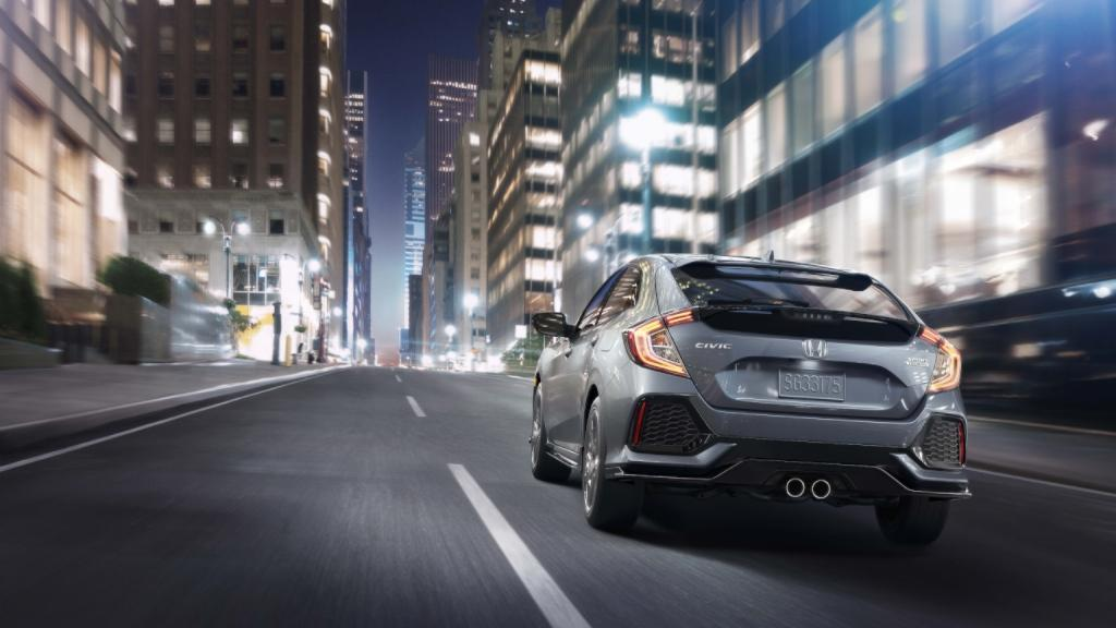 The Back of a Grey 2017 Honda Civic Hatchback