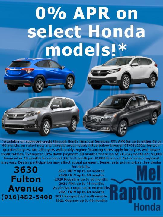 Mel Rapton Honda - 0% Offer