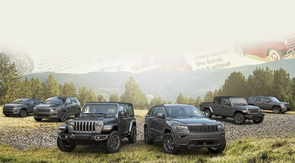 Jeep lineup in the woods