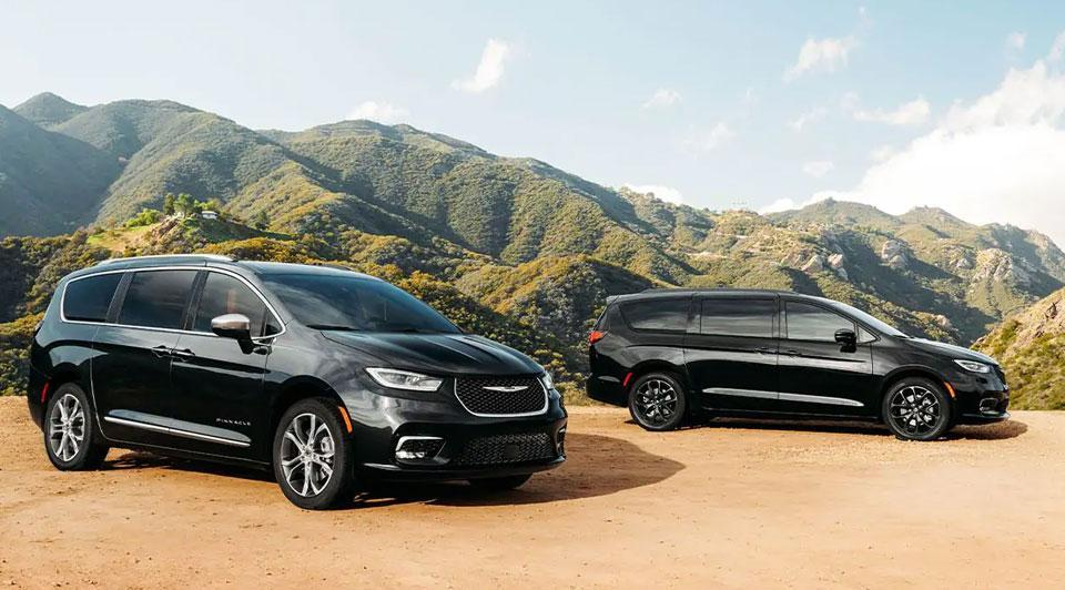 Two 2021 Black Chrysler Pacificas
