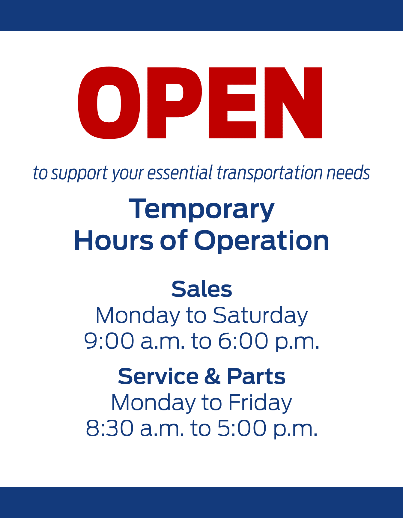 Temporary Hours of Operation COVID-19