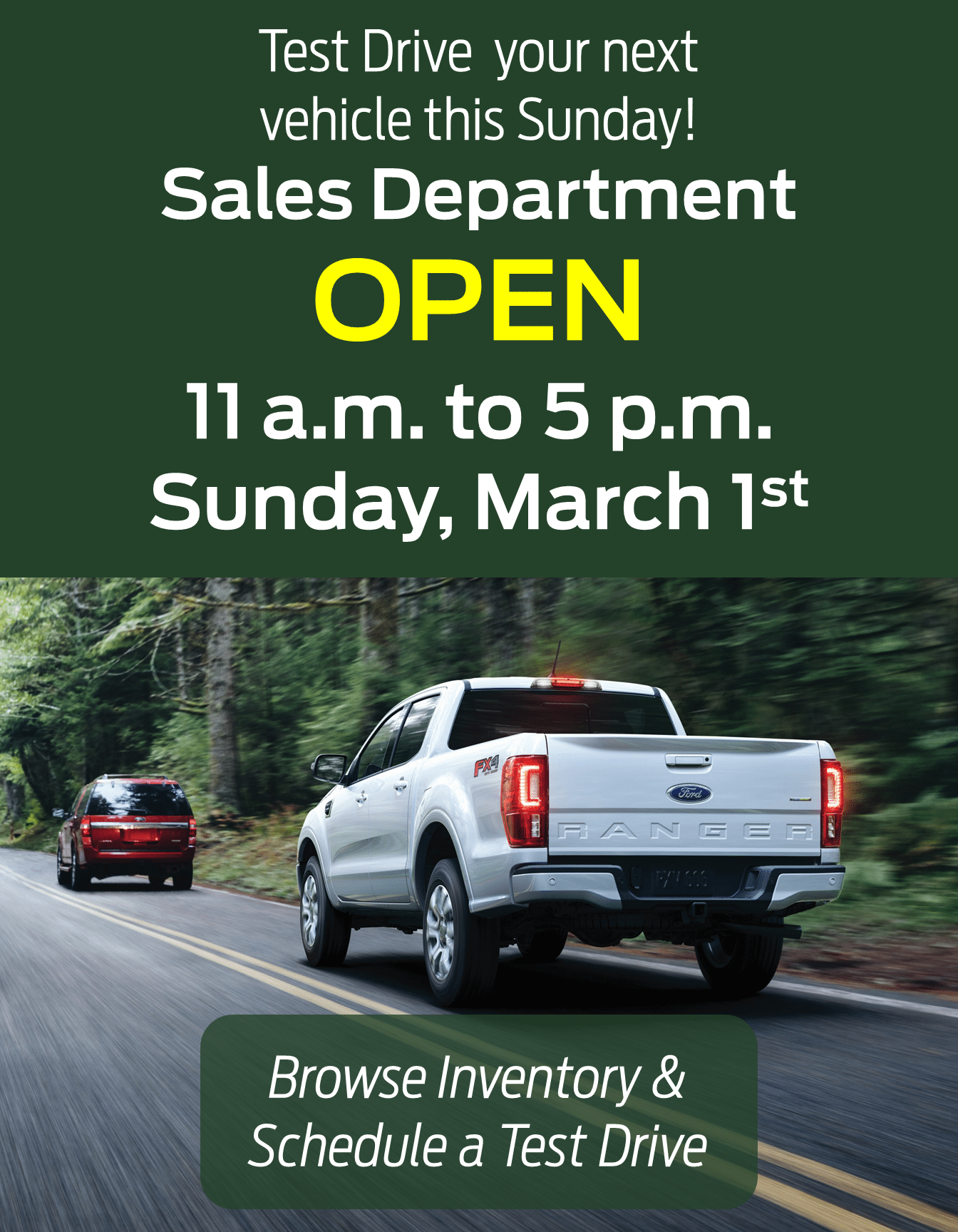Open Sunday, March 1, 2020