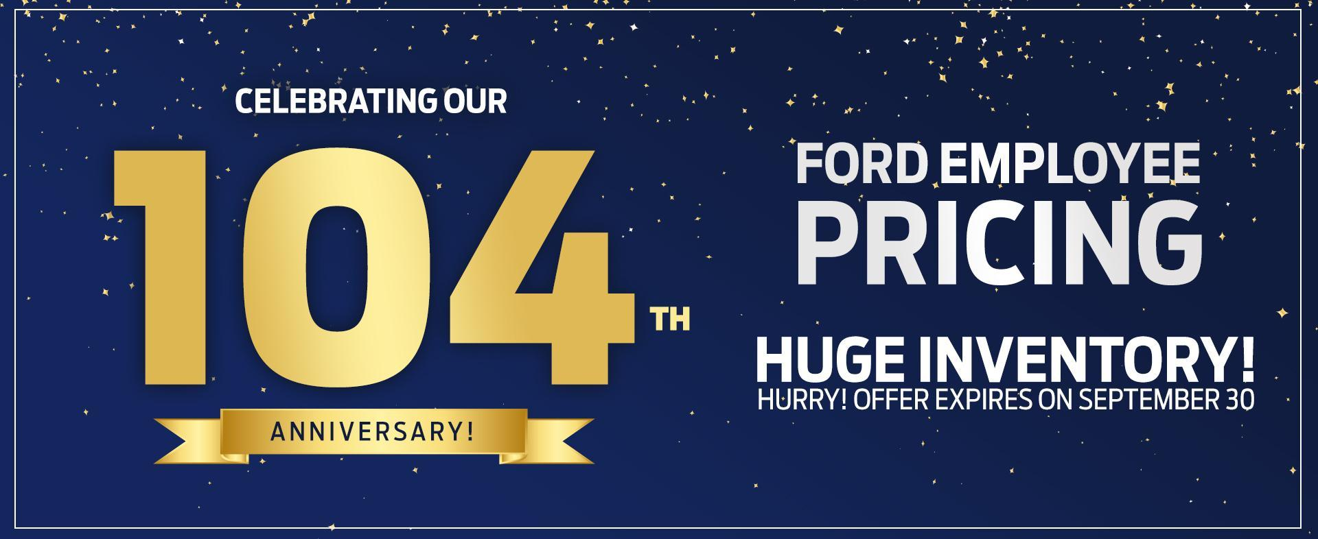 Ford Employee Pricing and 104th Anniversary slide