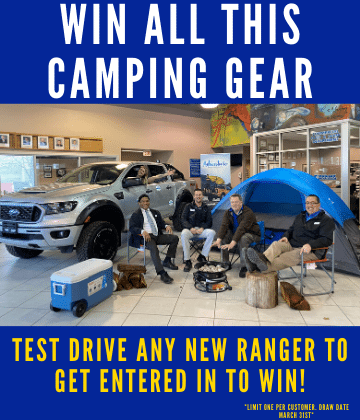 test drive any ranger to win all this camping gear