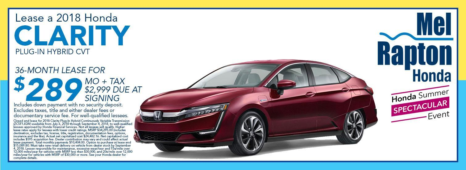 2018 Honda Clarity Lease Offer