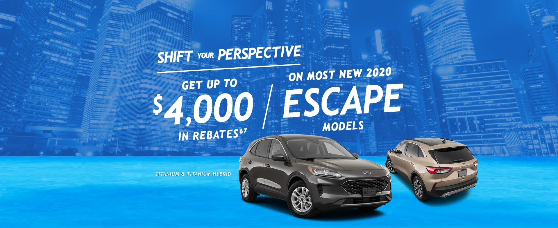 get up to $4000 off Escape Models
