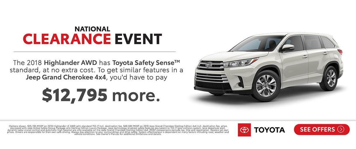Toyota Highlander National Clearance Event 2018