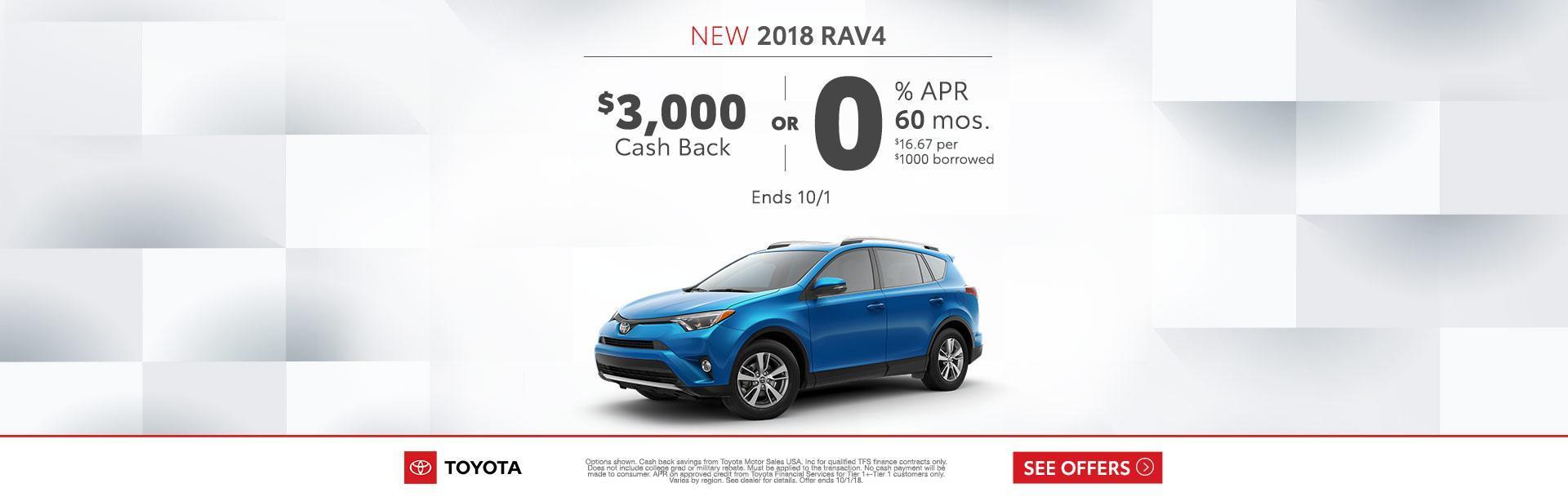 2018 Toyota RAV4 Cash Back