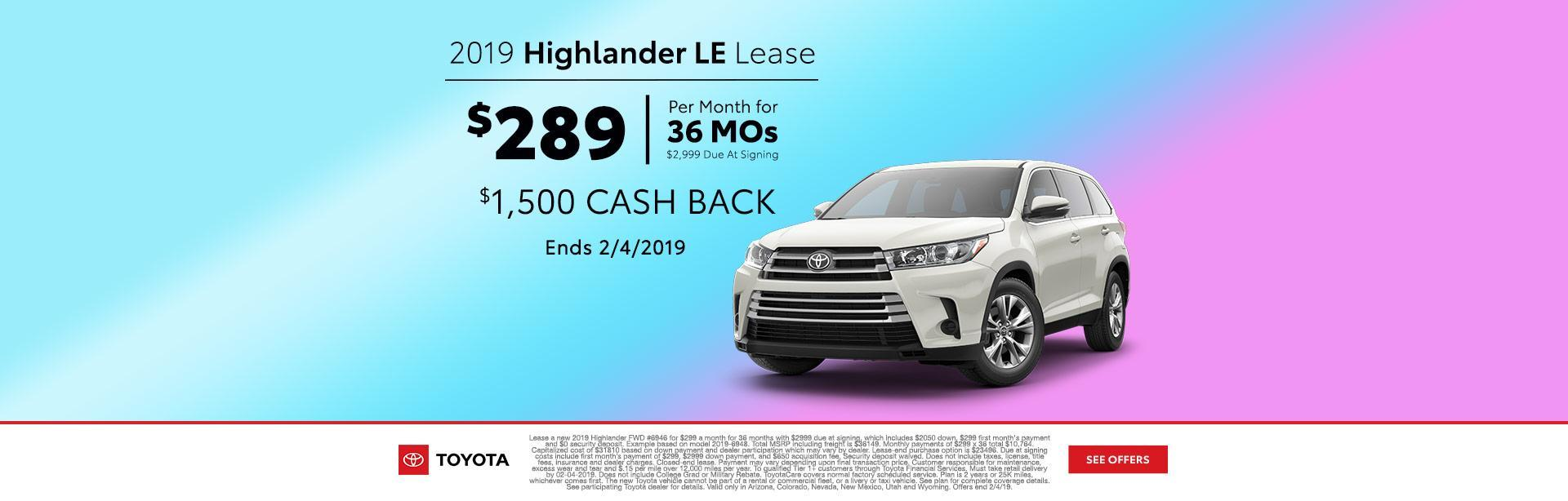 2019 Highlander Lease
