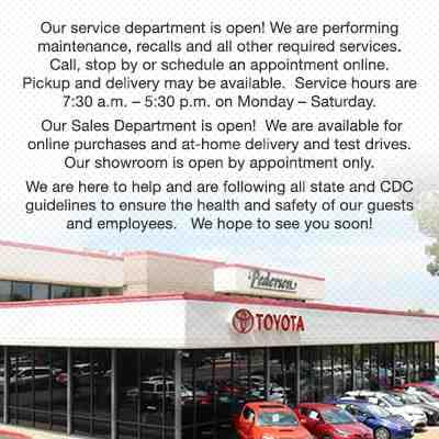 Pedersen Toyota is Open