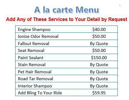 A la cart menu list