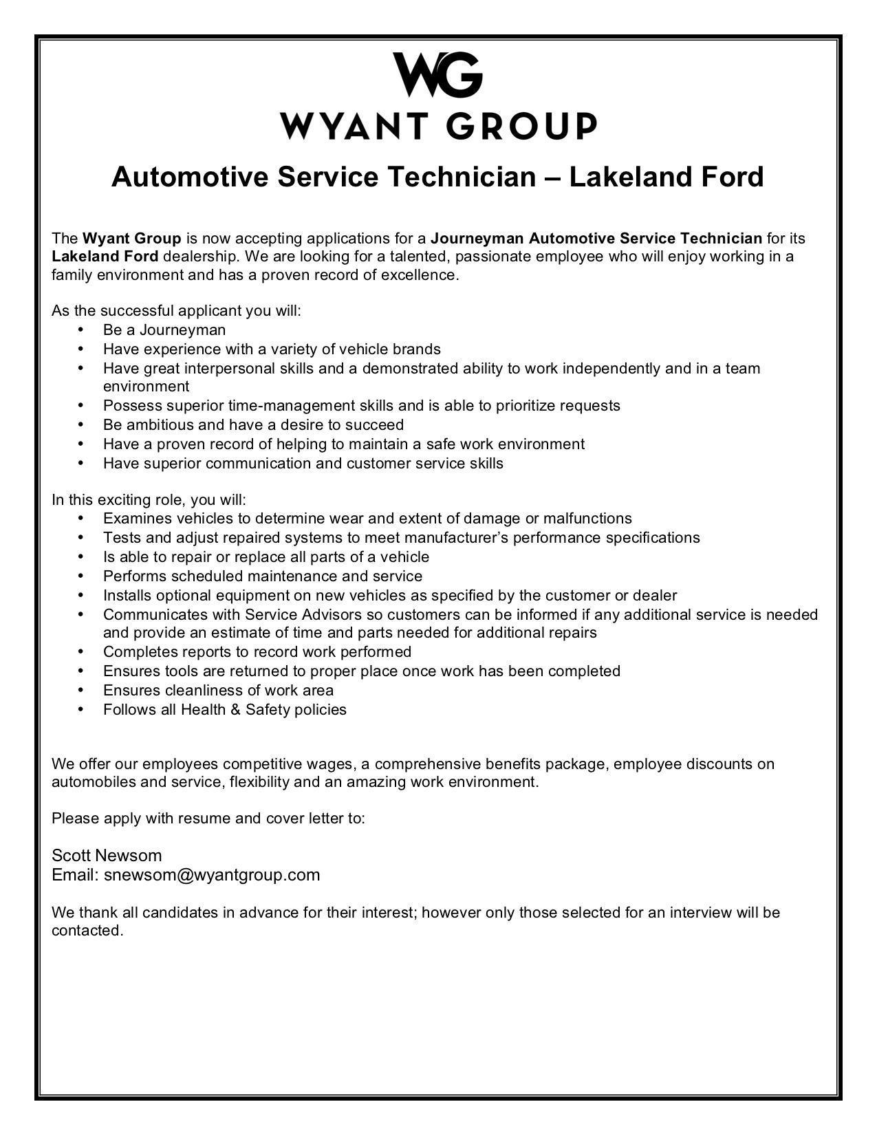 Lakeland Ford Journeyman Technician