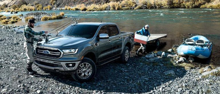 Unloading a boat from a Ford Ranger with Truck-Assist Technology