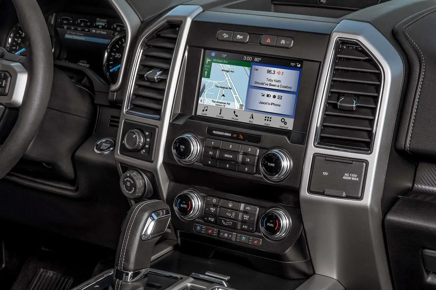Ford F-150 center console showing navigation through the city of Guelph, Ontario